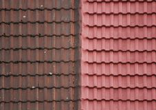 Roof Tiles - Old And New Royalty Free Stock Photos