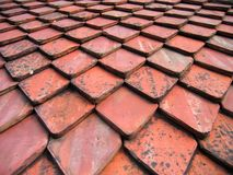 Roof tiles pattern. Rhombic roof tiles on top of Bran Castle forming an interesting pattern Stock Images