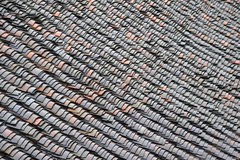 Roof tiles in the rain Royalty Free Stock Image
