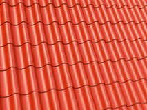 Roof tiles. Red corrugated roof tiles background Stock Image