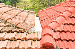 Roof tiles. Red and orange roof tiles on adjoining houses Royalty Free Stock Photos