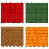 Roof tiles set. Collection of shingles and profiles, seamless constructions patterns. Vector. Roof tiles set. Collection of shingles and profiles, seamless Royalty Free Stock Photo
