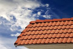 Roof tiles and sky with clouds Royalty Free Stock Image