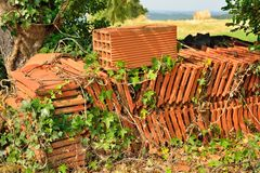 Roof tiles stacked in a garden Stock Images