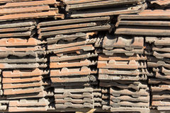 Roof tiles. Stacked in a pile Royalty Free Stock Photo