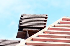 Roof tiles stacked in piles on wooden battens Royalty Free Stock Images