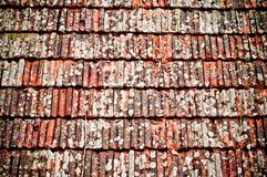 Roof tiles texture. Old  clay shingle roof. Roof tiles texture. Detail of an old, weathered clay shingle roof texture. Damaged roof Royalty Free Stock Photography