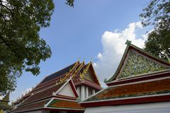 Roof tiles of Wat pho temple.  royalty free stock photo