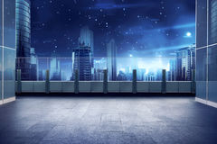Roof top balcony with cityscape background Stock Photography