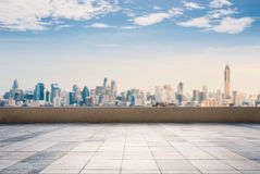 Roof top balcony with cityscape background Stock Photo