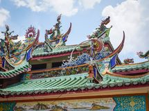 Roof top of Chinese temple in Malaysia royalty free stock images