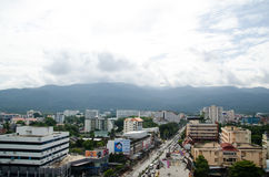 Roof Top of the city at Chiangmai along the cloud with the sunny Sky. The environment at chiangmai city with a good sunny ray along the cloud on the sky Royalty Free Stock Photo