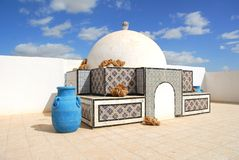 Roof top composition on old carpet shop in Tunisia Royalty Free Stock Photography