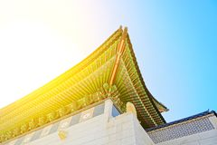 Roof top of the main gate to Gyeongbokgung Palace - translation for this word is Stock Image