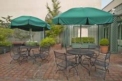 Roof Top Garden 2. Roof Top Garden with Outdoor Patio Furniture and Umbrellas 2 Stock Photo