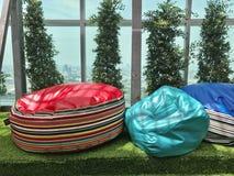 Roof top garden. Colorful bean bag on roof top garden Stock Photo