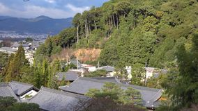 Roof top of Ginkaku temple with green trees in Kyoto, Japan.  stock video
