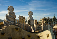 Roof top of La Pedrera-Casa Milla Stock Image