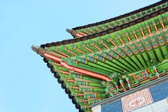 Roof top of the main entrance to Gyeongbokgung Palace - translation for this word is Stock Images