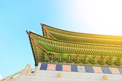 Roof top of the main gate to Gyeongbokgung Palace - translation for this word is Royalty Free Stock Photography