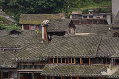 Roof top of old houses in Fenghuang Town Stock Images