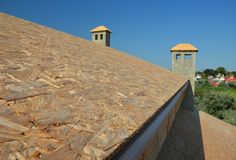 Roof top plywood, oriented strand board OSB for asphalt shingles installation. Photo stock photo