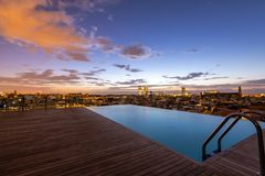 Roof Top Pool Sunrise, Barcelona royalty free stock image