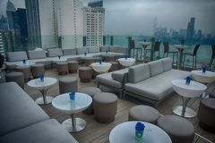Roof top Restaurant and Bar design Stock Photography