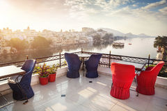 Roof top restaurant in Udaipur Royalty Free Stock Photography