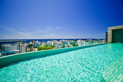 Roof top swimming pool. Hotel's roof top swimming pool. View to Male' city - capital of Maldives and deep blue ocean stock image