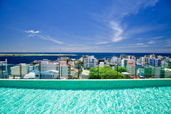Roof top swimming pool, view to Male' Stock Photos