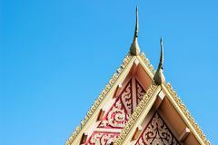 Roof top of temple in sky in thailand. Roof top of temple in blue sky in thailand Royalty Free Stock Photo