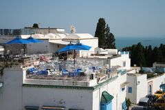 Roof top terrasse cafe in Sidi Bou Said Royalty Free Stock Images