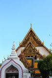 Roof top Thai art of Marble temple under blue sky in Bangkok, Th Stock Images