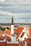 Roof top view of the old Tallinn streets with medieval houses stock image