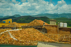 Roof top view over colonial houses in Trinidad,Cuba Stock Photos