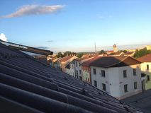Roof top view to a church Royalty Free Stock Image