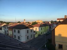 Roof top view to a church Royalty Free Stock Photography