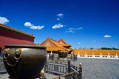 Roof tops and bowl in forbidden city in Beijing Stock Photography