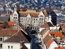Roof tops and streetscape of the Castle district in Budapest stock image