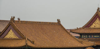 Roof tops of a temple. Roof tops laid with roof tiles of chines temples Stock Photo