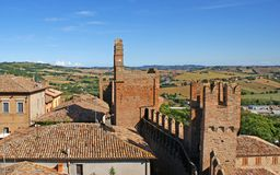Roof Tops and Walls of Gradara Stock Images