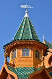 Roof of tower in palace of tzar in Moscow, Russia. Roof of tower in wooden palace of tzar in Kolomenskoe, Moscow, Russia Royalty Free Stock Images