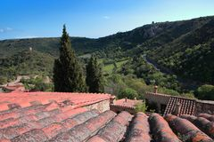 Roof of Traditional house in french village of Castelnou in Pyrenees Stock Photo