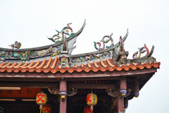 The roof of traditional oriental temple with beautiful decoration in Taiwan Royalty Free Stock Image