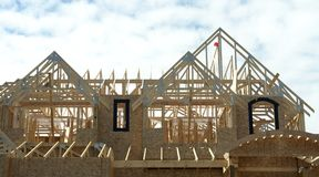 Roof Trusses. On a dream home being built in White Rock, BC Royalty Free Stock Photo