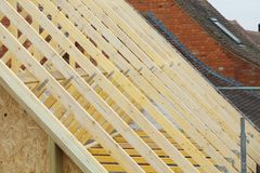 Roof trusses detail stock photos