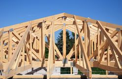 Roof trusses. Roofing Construction House Roof Building.Timber roof truss. Royalty Free Stock Photography