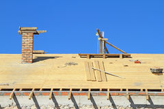 Roof under construction. Carpentry work Stock Photo