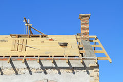 Roof under construction. Carpentry work Royalty Free Stock Photography